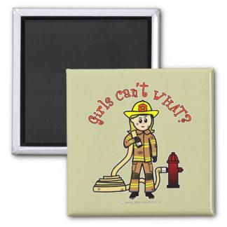 Blonde Firefighter Girl 2 Inch Square Magnet