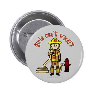 Blonde Firefighter Girl Pinback Button