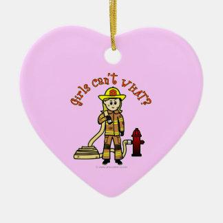 Blonde Firefighter Girl Ceramic Ornament