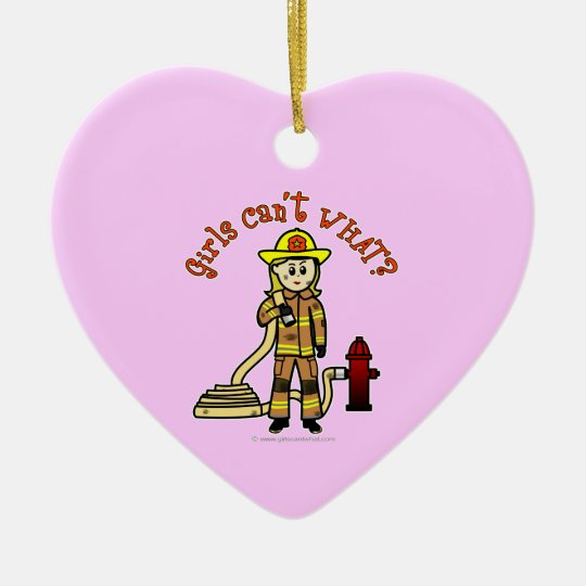 Blonde Firefighter Girl Ceramic Ornament