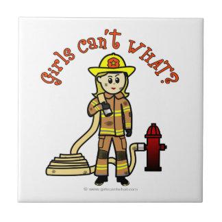 Blonde Firefighter Girl Ceramic Tile