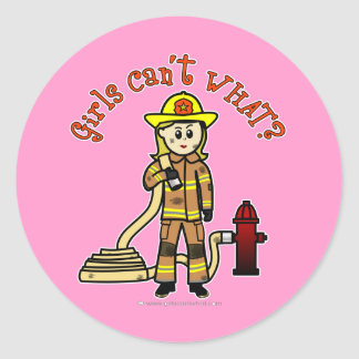 Blonde Firefighter Girl Classic Round Sticker