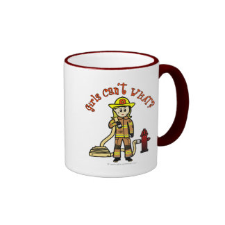 Blonde Firefighter Girl Coffee Mug