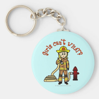 Blonde Firefighter Girl Keychain