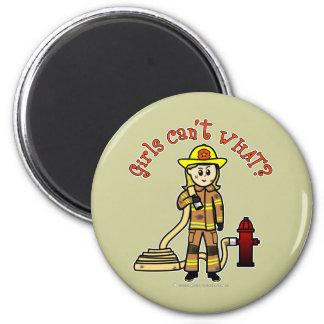 Blonde Firefighter Girl Fridge Magnet