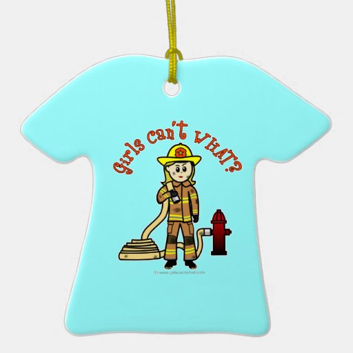 Blonde Firefighter Girl Double-Sided T-Shirt Ceramic Christmas Ornament