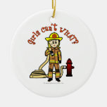 Blonde Firefighter Girl Double-Sided Ceramic Round Christmas Ornament