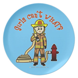 Blonde Firefighter Girl Party Plates