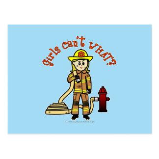 Blonde Firefighter Girl Postcard