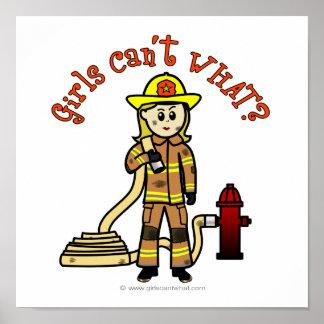 Blonde Firefighter Girl Poster