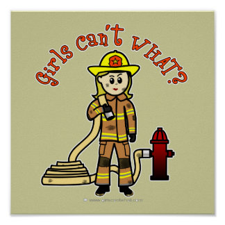 Blonde Firefighter Girl Posters