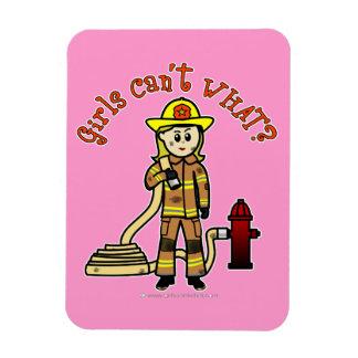 Blonde Firefighter Girl Vinyl Magnet