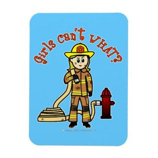 Blonde Firefighter Girl Rectangle Magnets