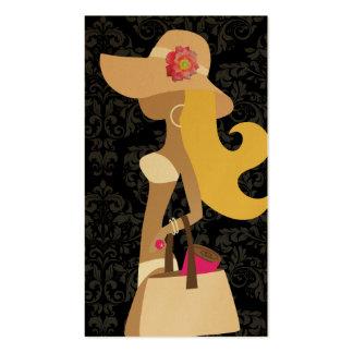 Blonde floral del fashionista del rosa del bikini  plantilla de tarjeta de visita