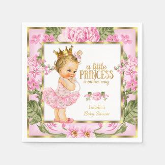 Blonde floral subió oro del rosa de la princesa servilleta de papel
