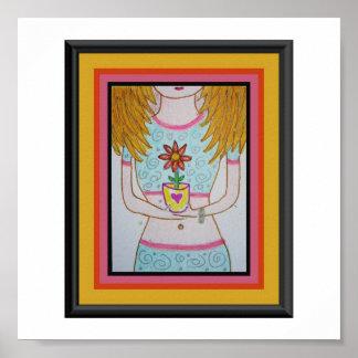 Blonde Flower Girl Posters