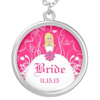 Blonde Fuchsia Wedding Bride's Necklace