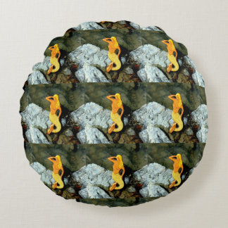 blonde gazing mermaids round pillow