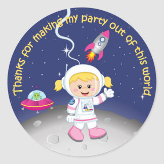 Blonde Girl Astronaut Birthday Thank You Classic Round Sticker