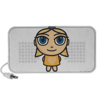 Blonde Girl Cartoon Character Doodle Speakers