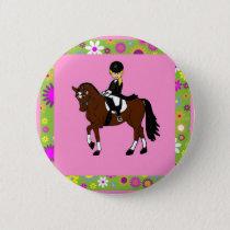 Blonde girl dressage horse rider caricature button