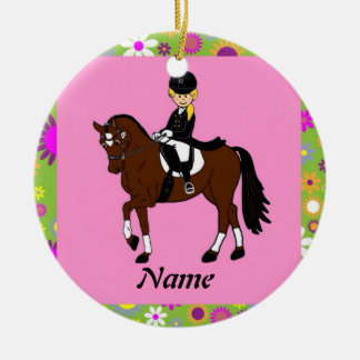 Blonde girl dressage horse rider caricature ceramic ornament