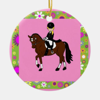 Blonde girl dressage horse rider caricature christmas ornaments