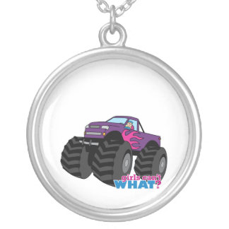Blonde Girl Driving Purple Monster Truck Necklaces