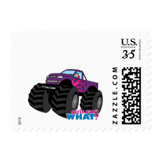 Blonde Girl Driving Purple Monster Truck Postage