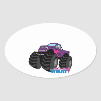 Blonde Girl Driving Purple Monster Truck Oval Stickers