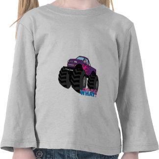 Blonde Girl Driving Purple Monster Truck T Shirts