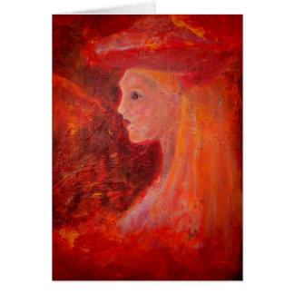 Blonde Girl in Red Romantic Feminine Girly ArtCard Card