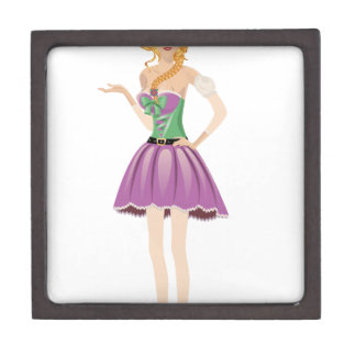 Blonde girl in spring dress gift box