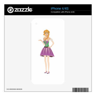 Blonde girl in spring dress skin for the iPhone 4