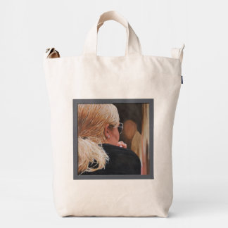 Blonde Girl in Sunglasses Painting Duck Bag