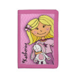 Blonde girl & lucky white bunny pink named purse tri-fold wallets