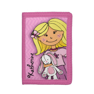Blonde girl & lucky white bunny pink named purse trifold wallets