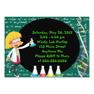 "Blonde Girl Mad Scientist Party Invitation 5"" X 7"" Invitation Card"