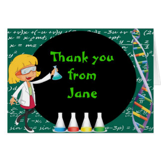 Blonde Girl Mad Scientist Thank You Note Card