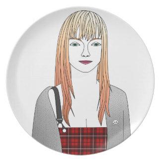 blonde girl melamine plate