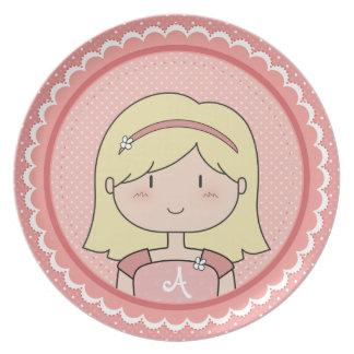 Blonde Girl (PINK) Melamine Plate
