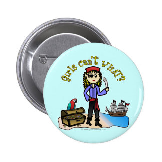 Blonde Girl Pirate Button