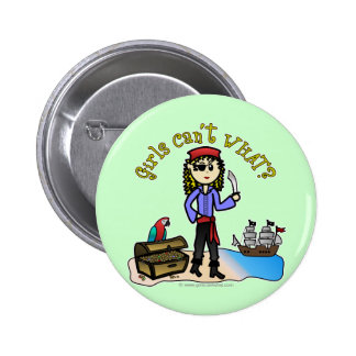 Blonde Girl Pirate Pinback Buttons