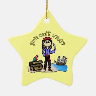 Blonde Girl Pirate Ceramic Ornament