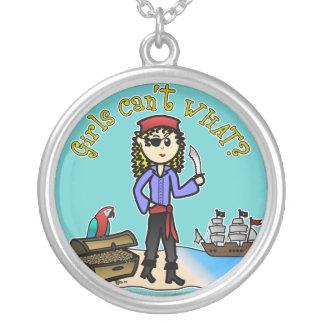 Blonde Girl Pirate Custom Necklace