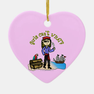 Blonde Girl Pirate Double-Sided Heart Ceramic Christmas Ornament