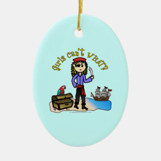Blonde Girl Pirate Double-Sided Oval Ceramic Christmas Ornament