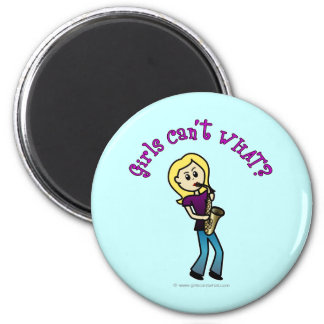 Blonde Girl Playing Saxophone 2 Inch Round Magnet