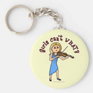 Blonde Girl Playing Violin Key Chain