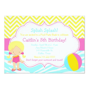 Beach Themed Blonde Girl Pool Party Bash Party Card